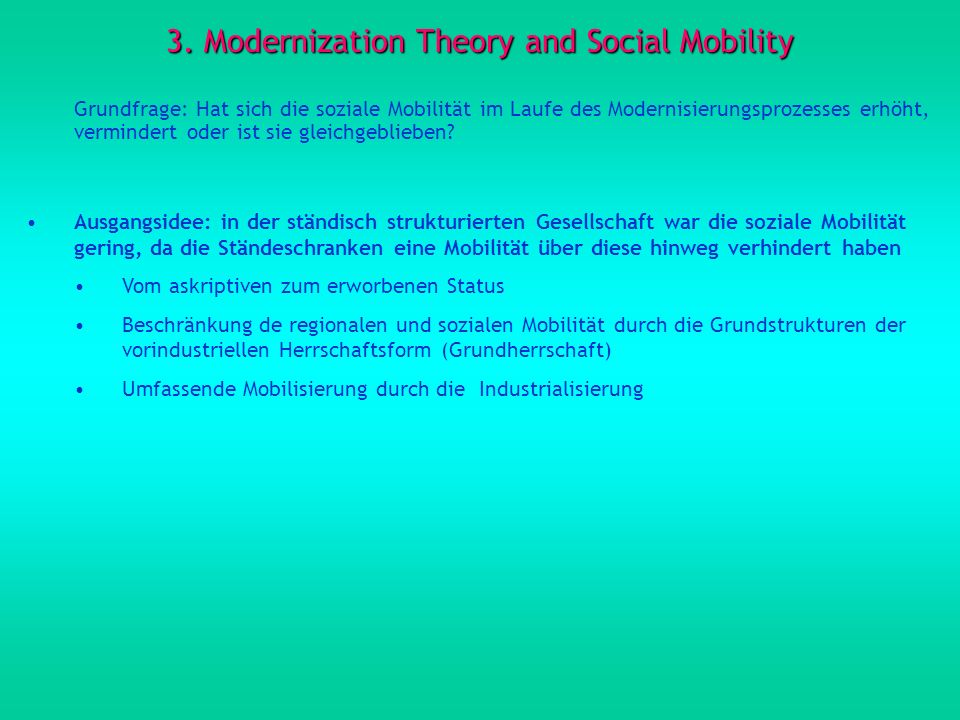 3. Modernization Theory and Social Mobility