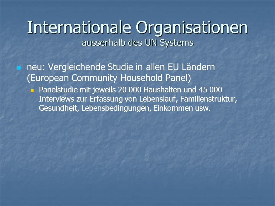 Internationale Organisationen ausserhalb des UN Systems