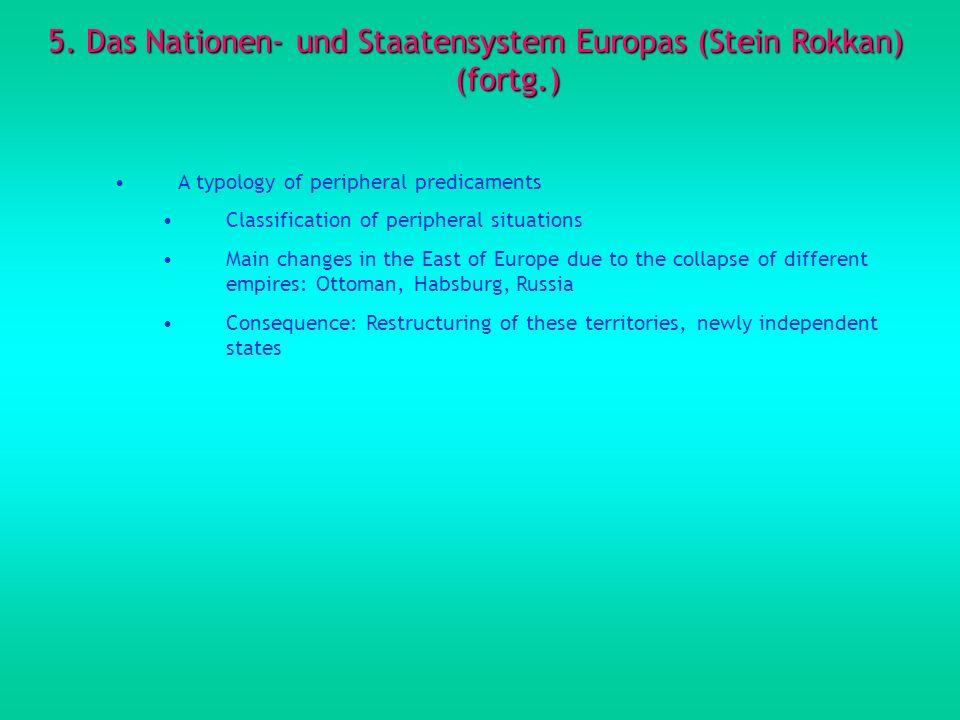 5. Das Nationen- und Staatensystem Europas (Stein Rokkan) (fortg.)