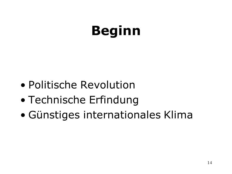 Beginn Politische Revolution Technische Erfindung