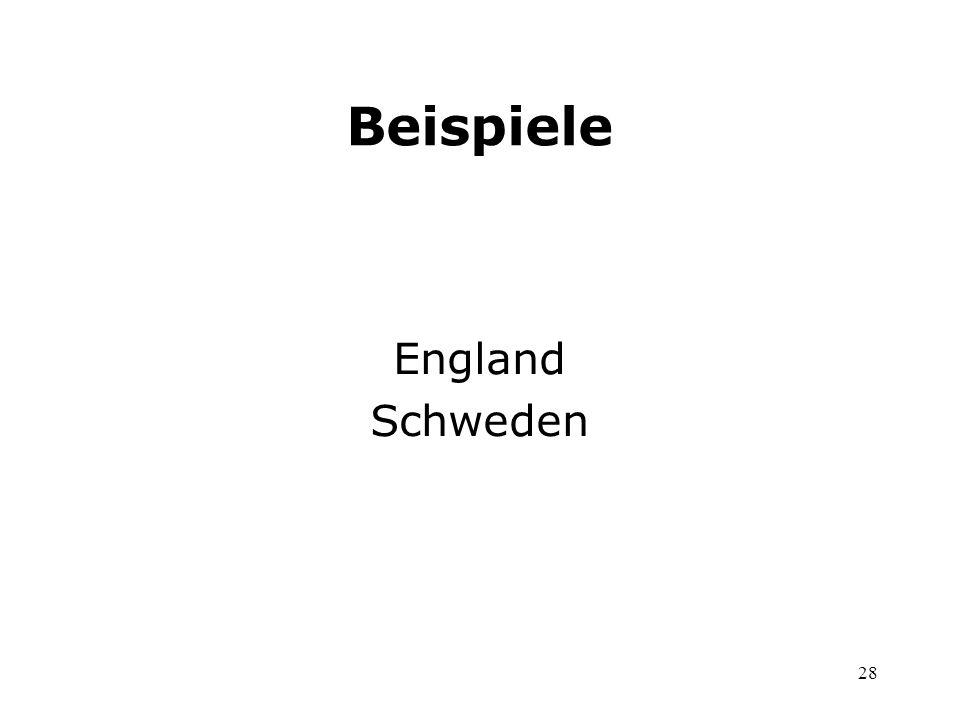 Beispiele England Schweden
