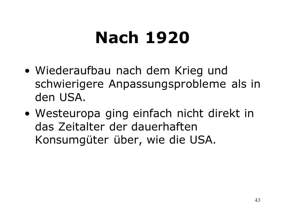 Nach 1920 Wiederaufbau nach dem Krieg und schwierigere Anpassungsprobleme als in den USA.