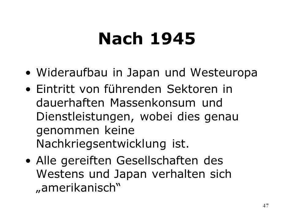 Nach 1945 Wideraufbau in Japan und Westeuropa
