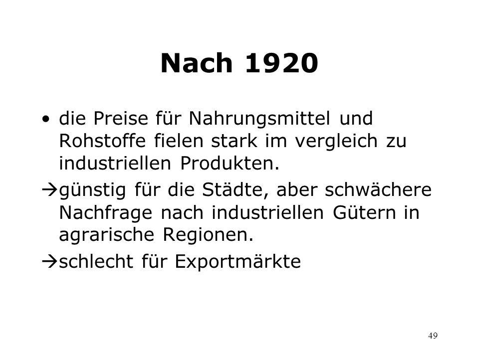 Nach 1920 die Preise für Nahrungsmittel und Rohstoffe fielen stark im vergleich zu industriellen Produkten.