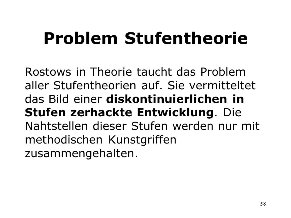 Problem Stufentheorie