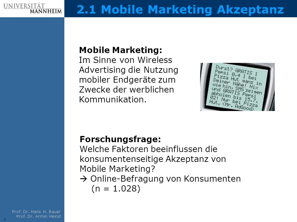 2.1 Mobile Marketing Akzeptanz