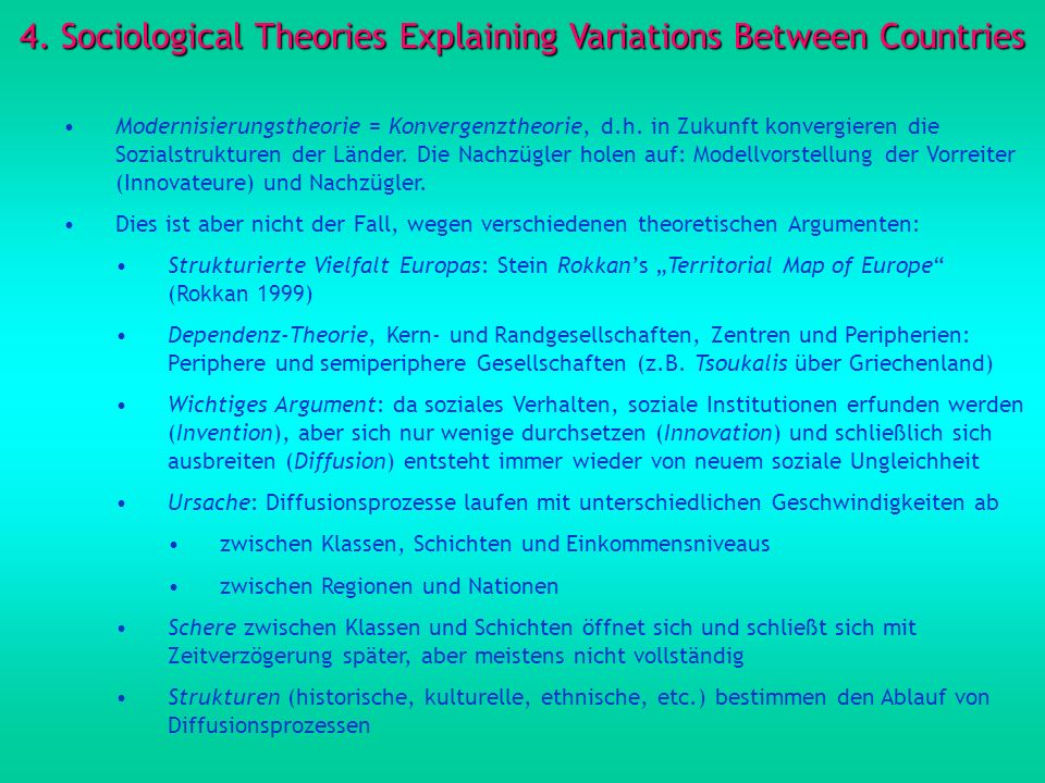 4. Sociological Theories Explaining Variations Between Countries