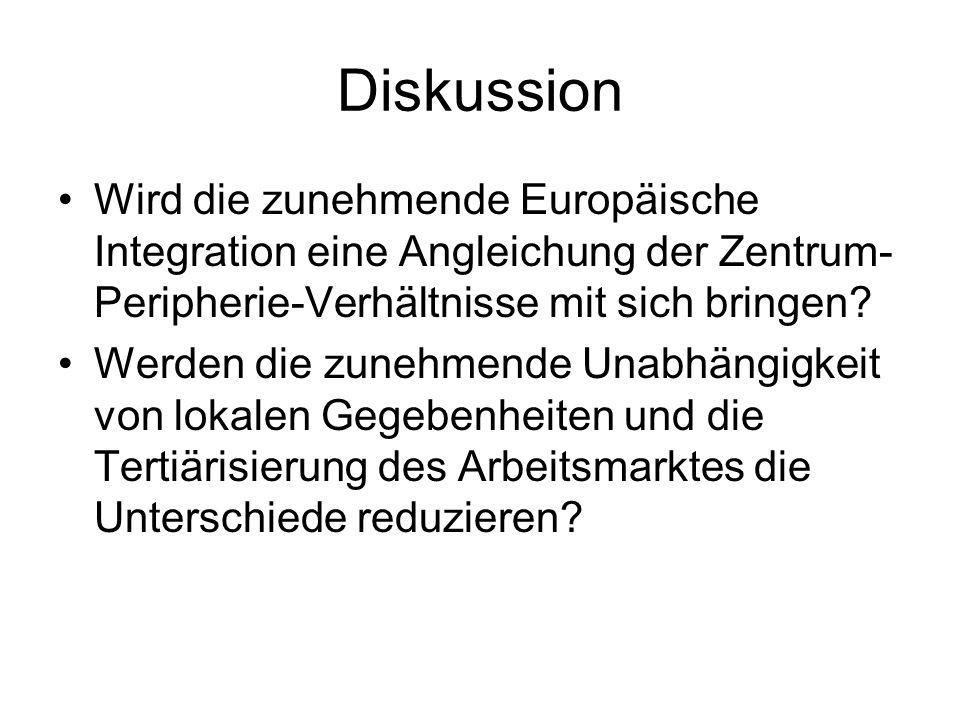 Diskussion Wird die zunehmende Europäische Integration eine Angleichung der Zentrum-Peripherie-Verhältnisse mit sich bringen