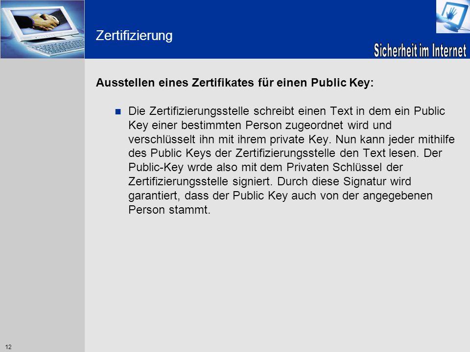 Zertifizierung Ausstellen eines Zertifikates für einen Public Key: