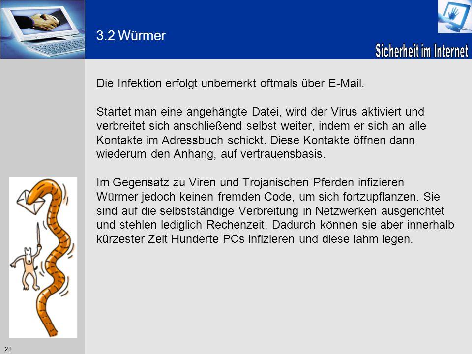 3.2 Würmer Die Infektion erfolgt unbemerkt oftmals über E-Mail.