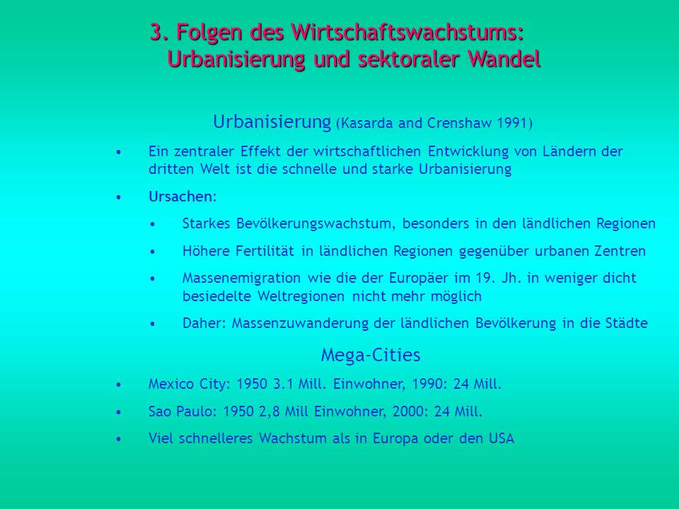 Urbanisierung (Kasarda and Crenshaw 1991)