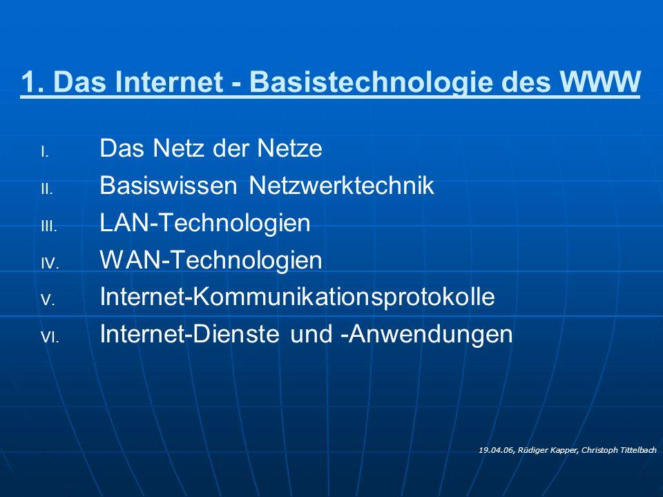 1. Das Internet - Basistechnologie des WWW
