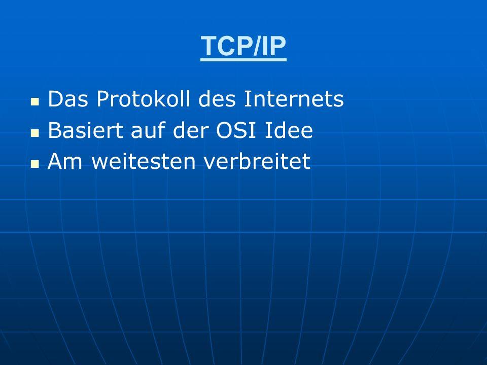 TCP/IP Das Protokoll des Internets Basiert auf der OSI Idee