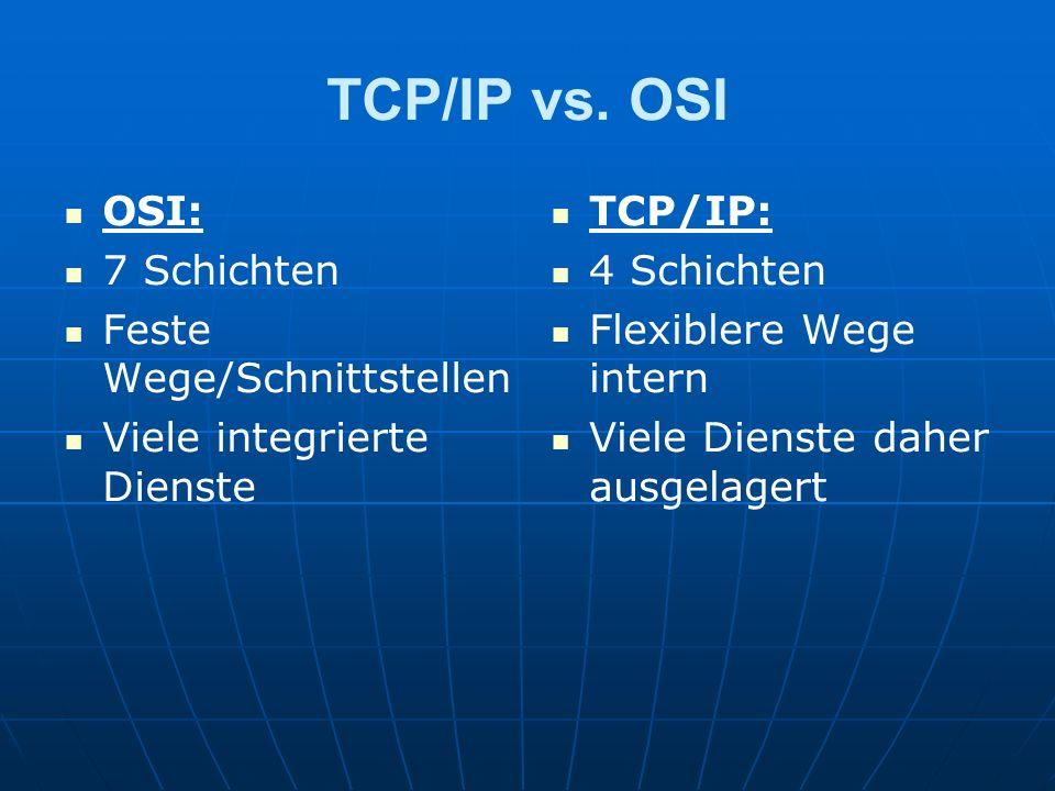 TCP/IP vs. OSI OSI: 7 Schichten Feste Wege/Schnittstellen