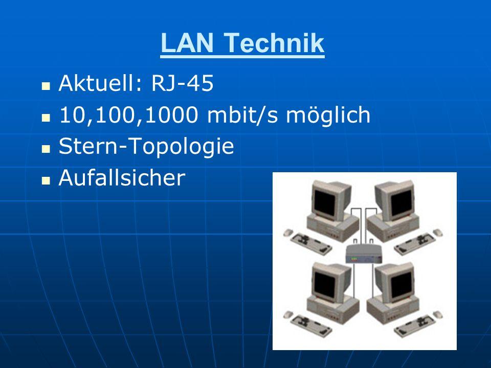 LAN Technik Aktuell: RJ-45 10,100,1000 mbit/s möglich Stern-Topologie