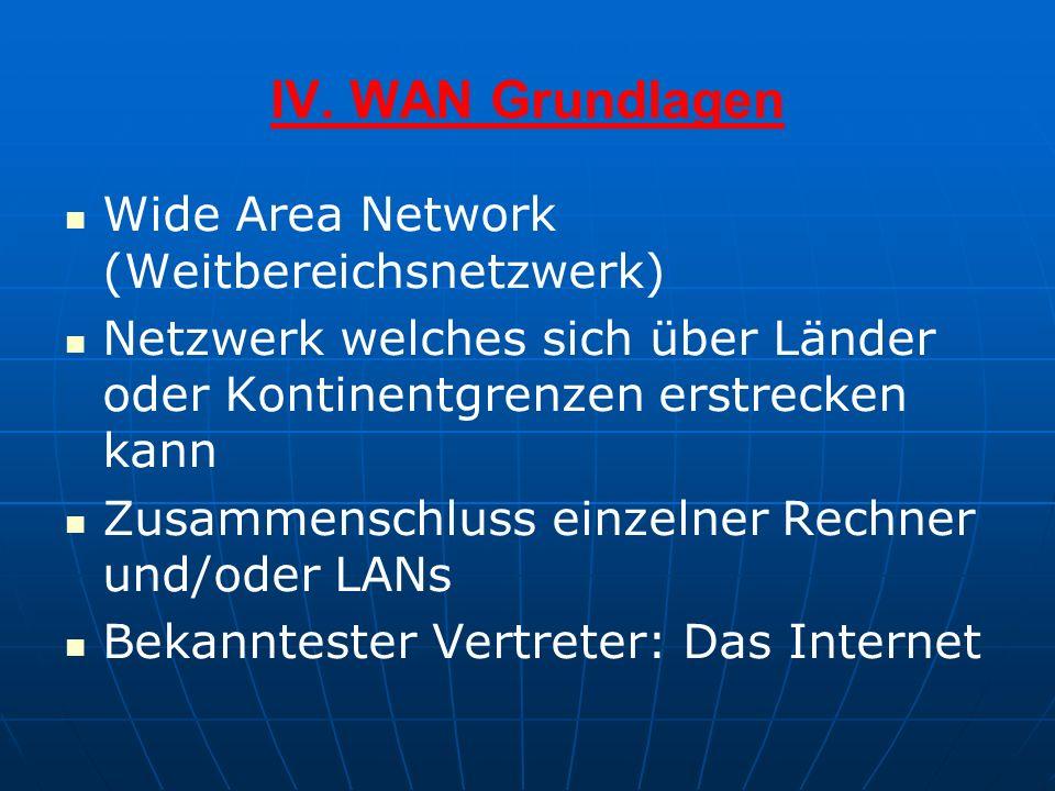 IV. WAN Grundlagen Wide Area Network (Weitbereichsnetzwerk)