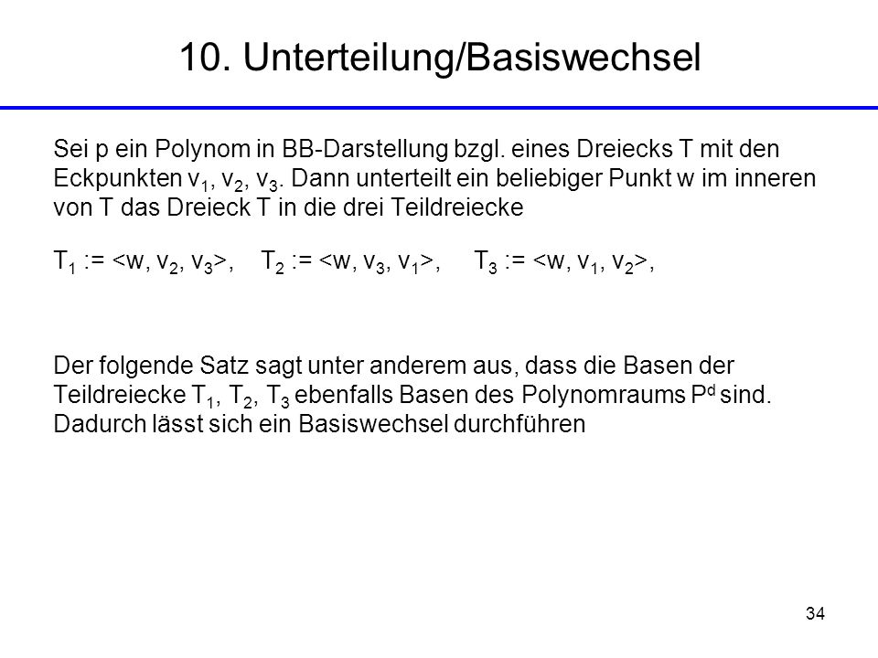 10. Unterteilung/Basiswechsel