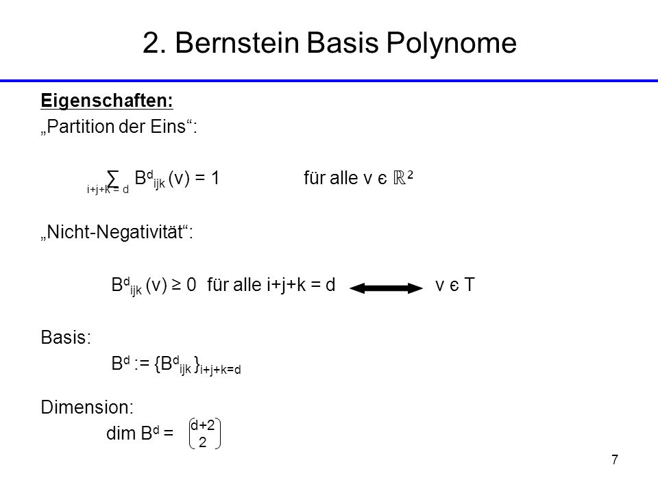 2. Bernstein Basis Polynome