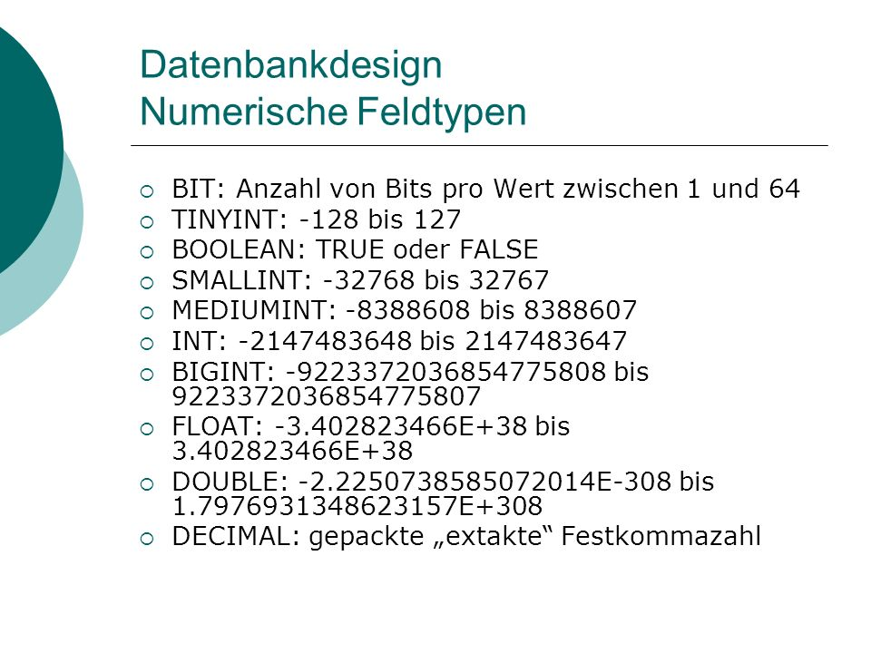 Datenbankdesign Numerische Feldtypen
