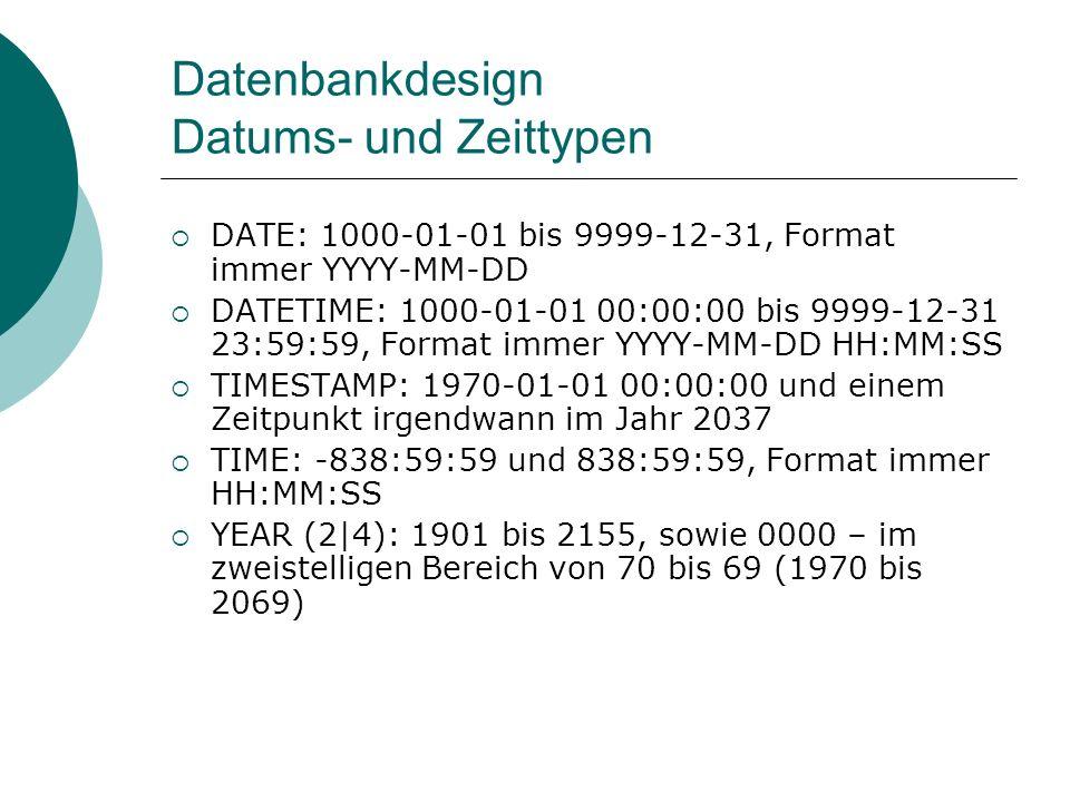 Datenbankdesign Datums- und Zeittypen