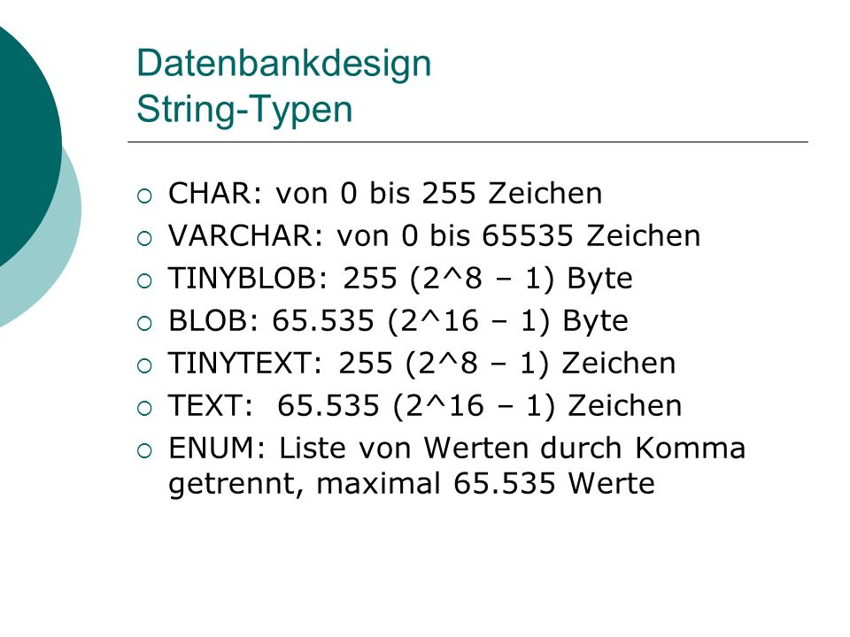 Datenbankdesign String-Typen