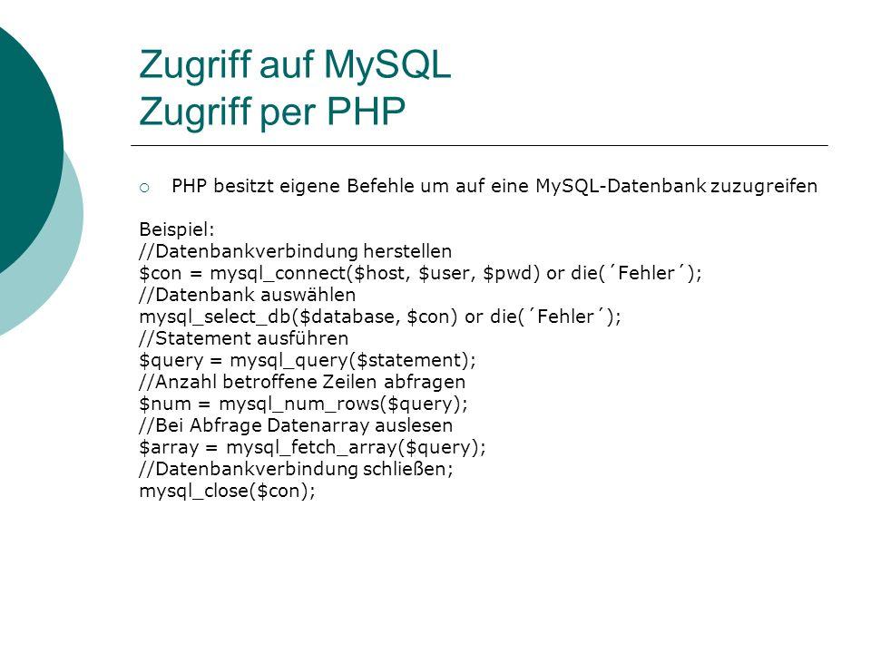 Zugriff auf MySQL Zugriff per PHP