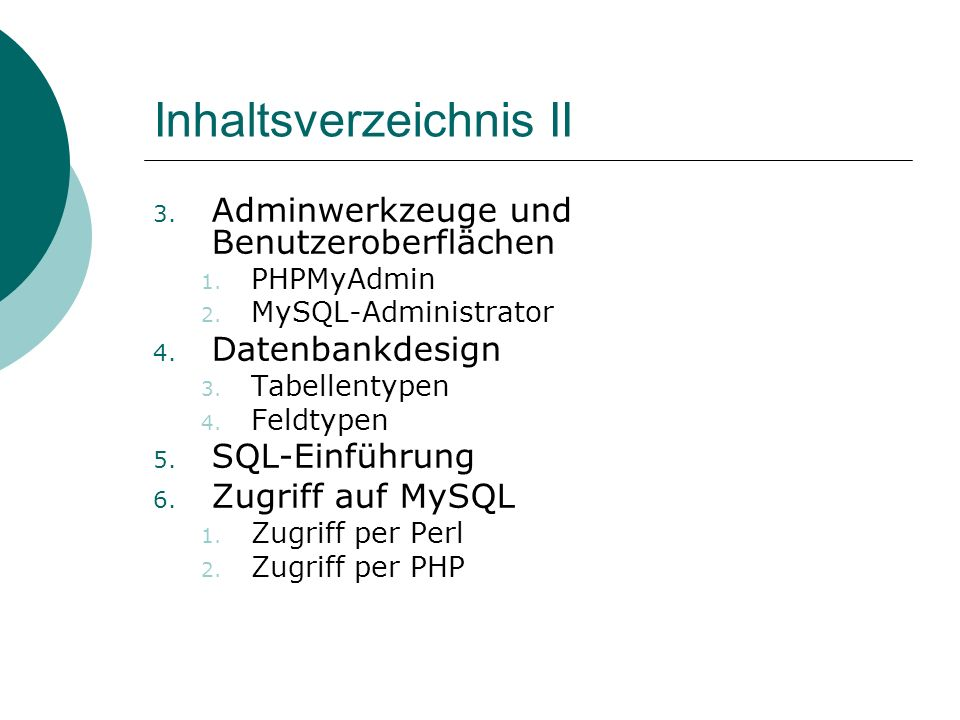 Inhaltsverzeichnis II