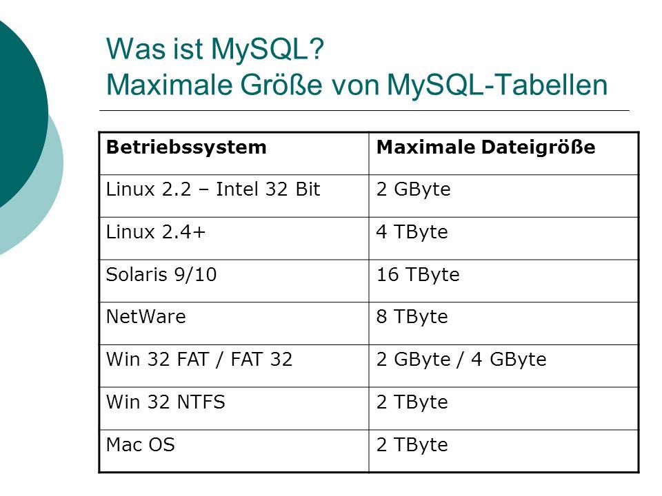 Was ist MySQL Maximale Größe von MySQL-Tabellen