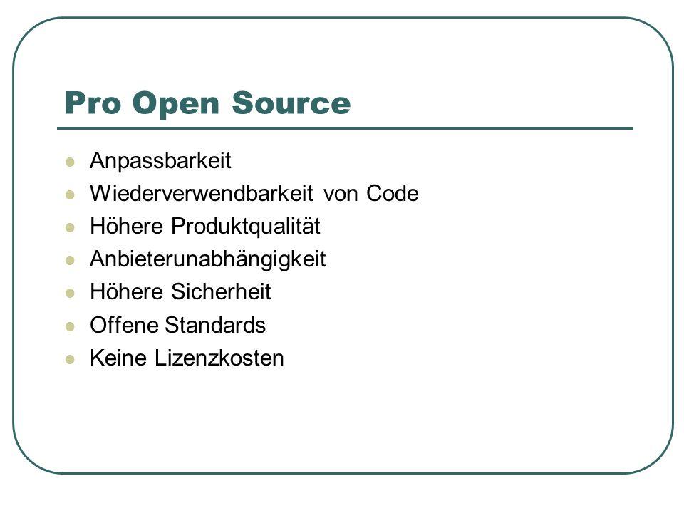 Pro Open Source Anpassbarkeit Wiederverwendbarkeit von Code