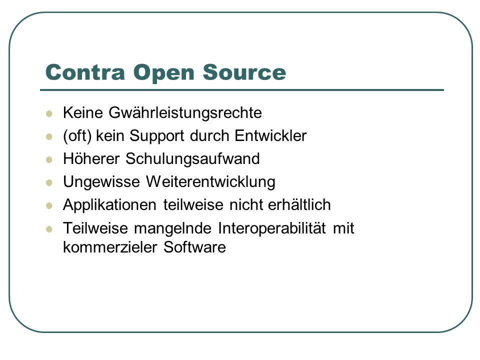 Contra Open Source Keine Gwährleistungsrechte