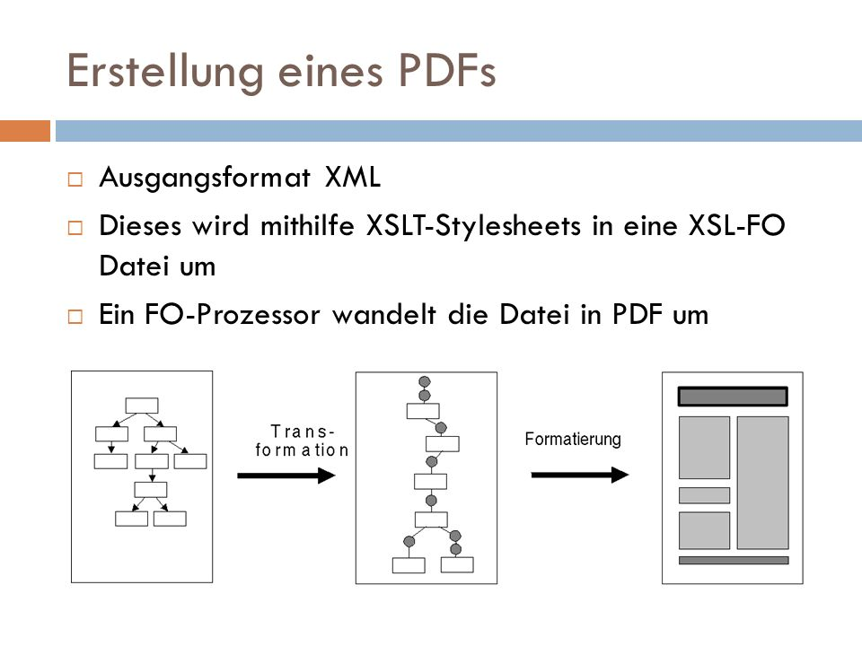 Erstellung eines PDFs Ausgangsformat XML