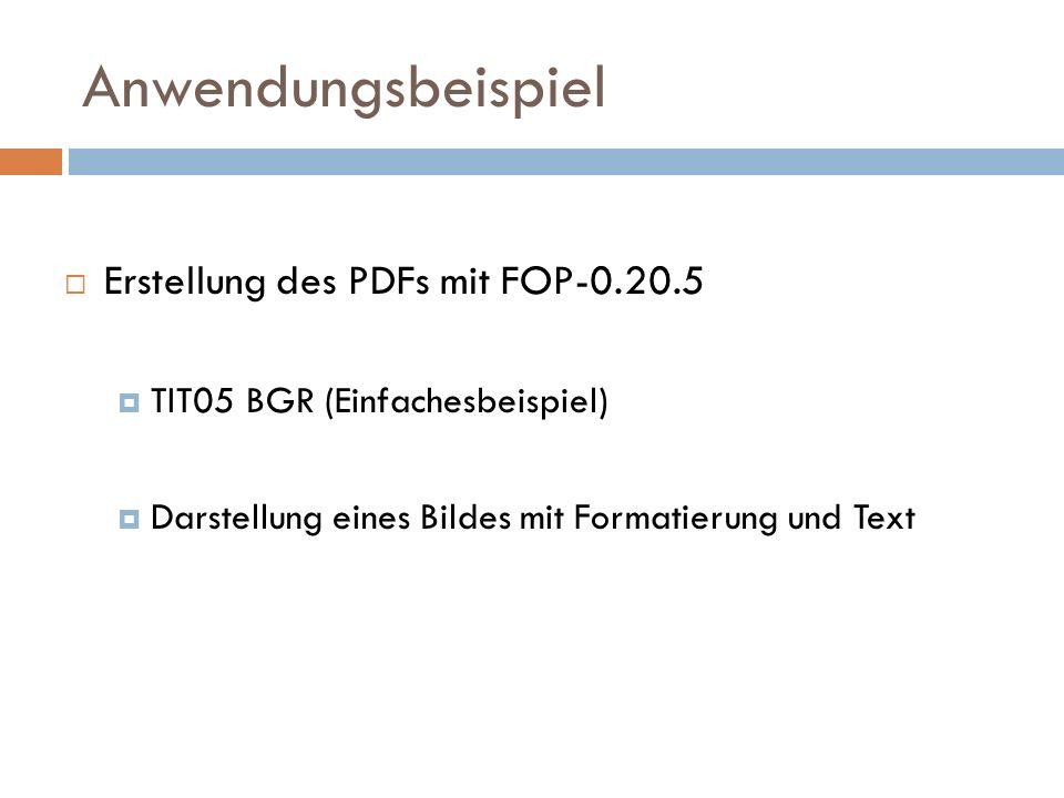 Anwendungsbeispiel Erstellung des PDFs mit FOP-0.20.5