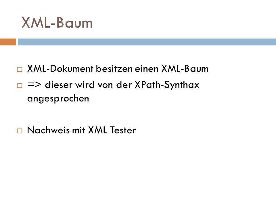 XML-Baum XML-Dokument besitzen einen XML-Baum