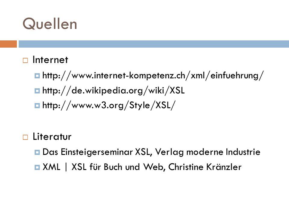 Quellen Internet Literatur