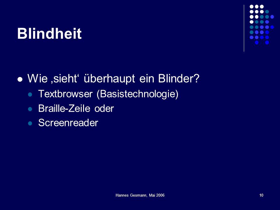 Blindheit Wie 'sieht' überhaupt ein Blinder