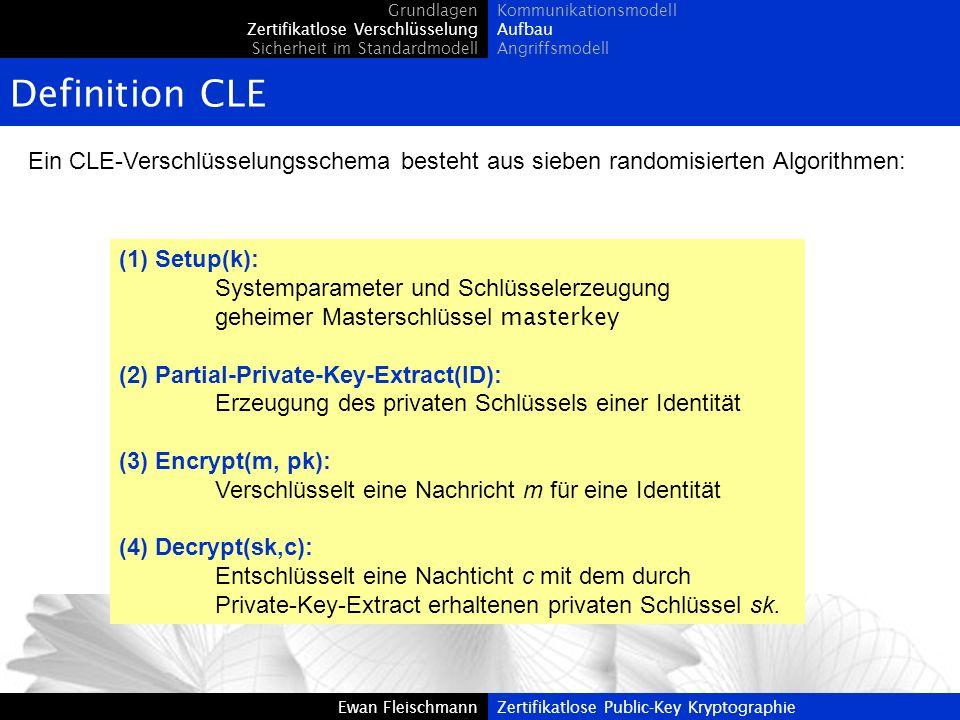 Grundlagen Zertifikatlose Verschlüsselung. Sicherheit im Standardmodell. Kommunikationsmodell. Aufbau.