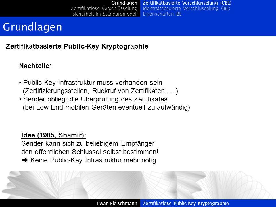 Grundlagen Zertifikatbasierte Public-Key Kryptographie Nachteile: