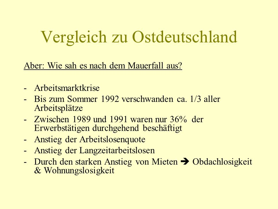 Vergleich zu Ostdeutschland