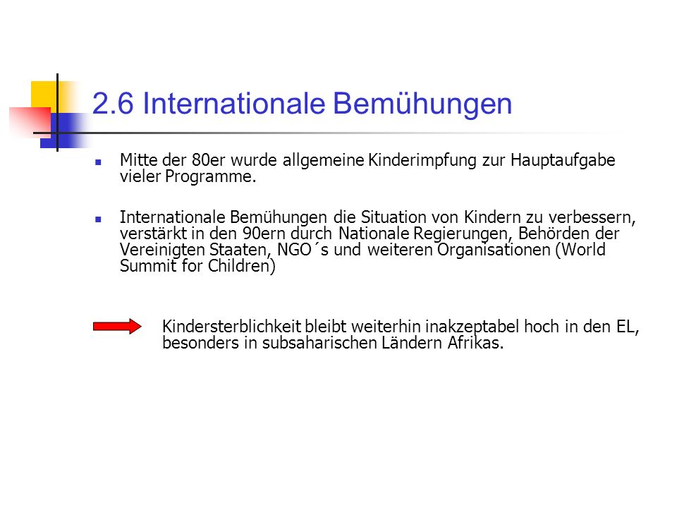 2.6 Internationale Bemühungen