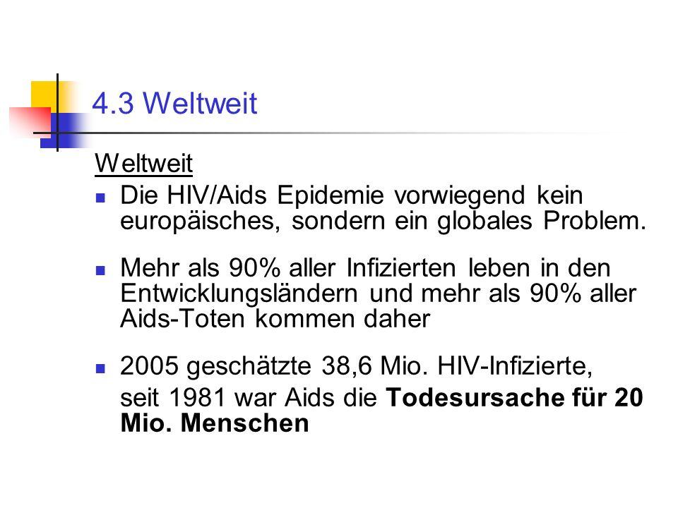 4.3 Weltweit Weltweit. Die HIV/Aids Epidemie vorwiegend kein europäisches, sondern ein globales Problem.