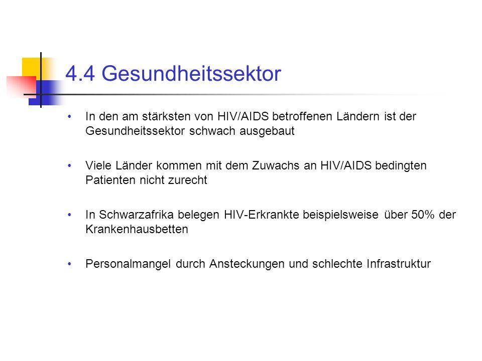 4.4 Gesundheitssektor In den am stärksten von HIV/AIDS betroffenen Ländern ist der Gesundheitssektor schwach ausgebaut.