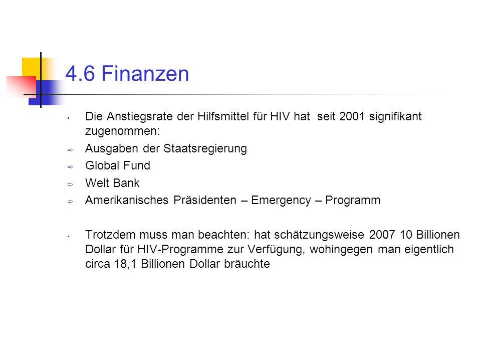4.6 Finanzen Die Anstiegsrate der Hilfsmittel für HIV hat seit 2001 signifikant zugenommen: Ausgaben der Staatsregierung.