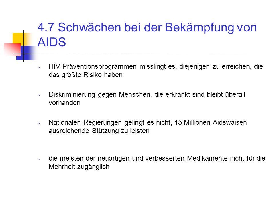 4.7 Schwächen bei der Bekämpfung von AIDS