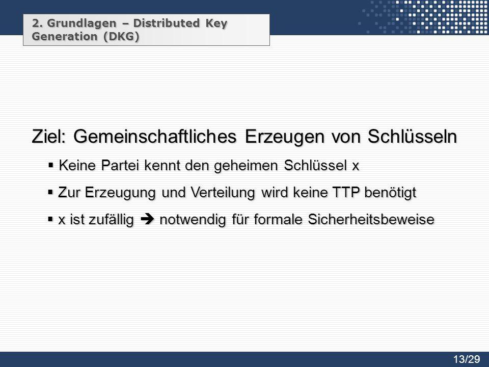 Ziel: Gemeinschaftliches Erzeugen von Schlüsseln
