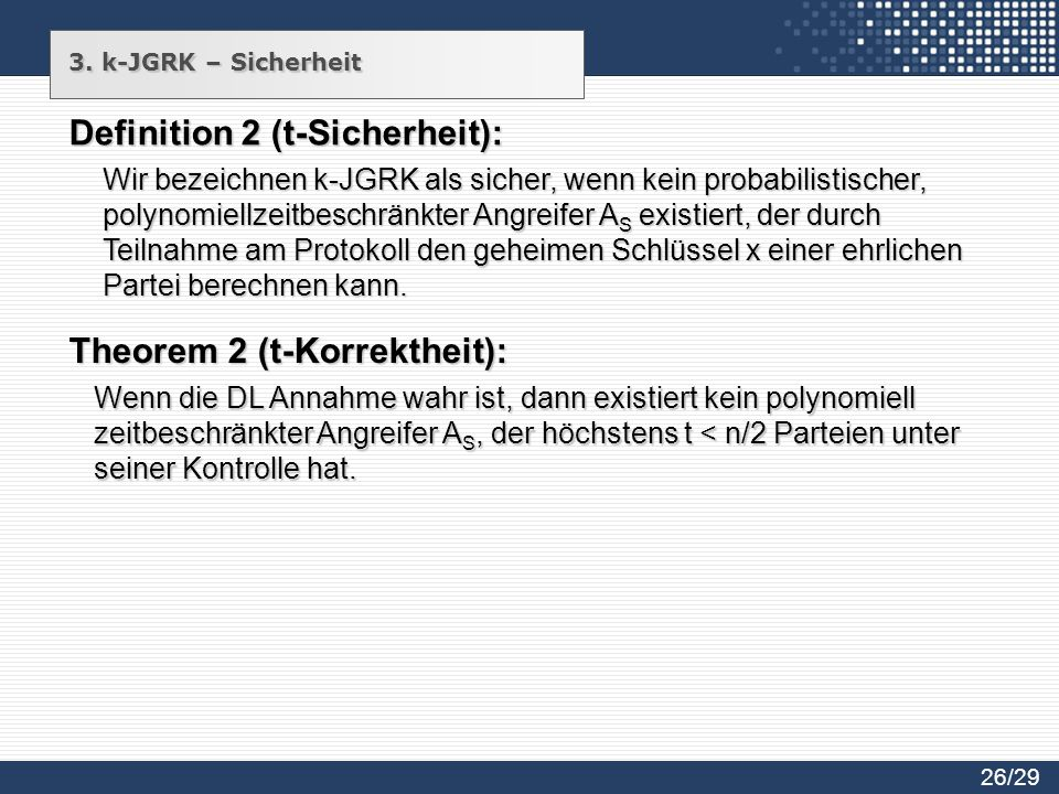 Definition 2 (t-Sicherheit):