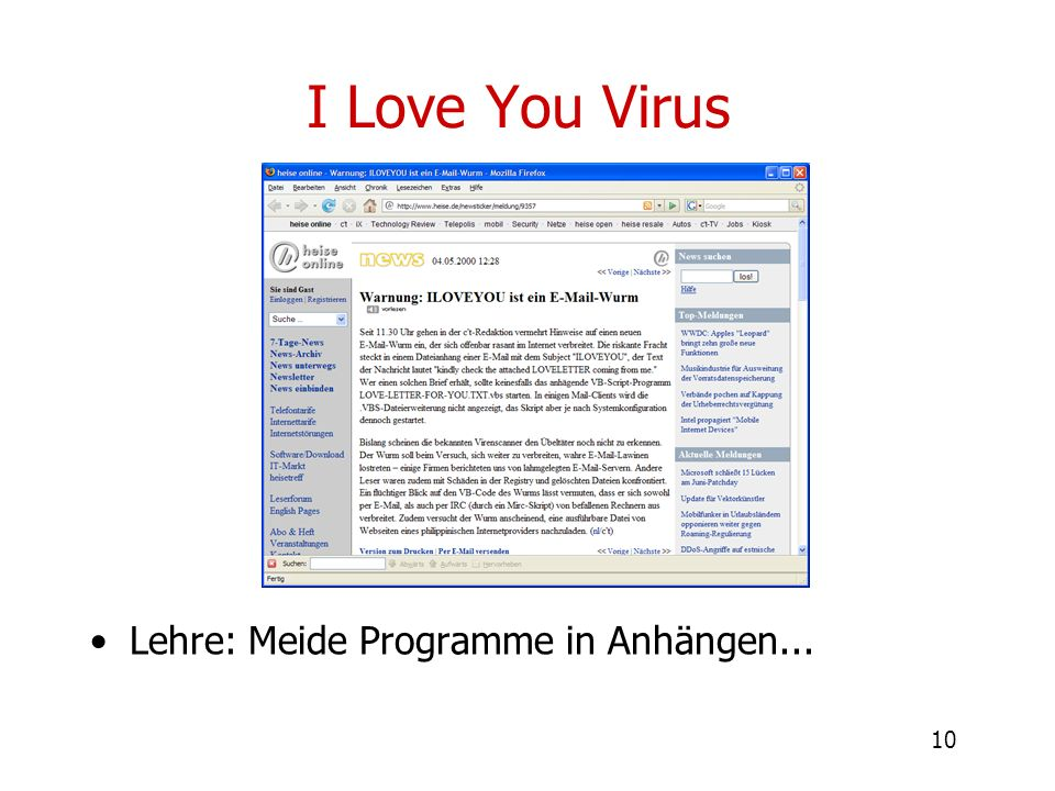 I Love You Virus Lehre: Meide Programme in Anhängen...