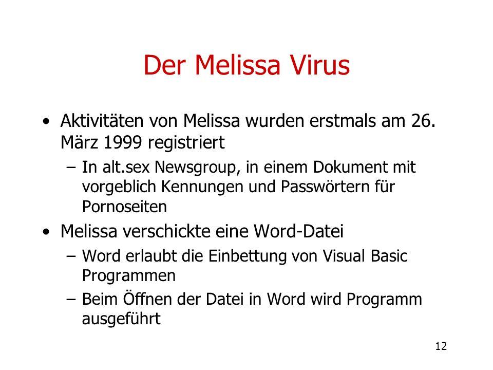 Der Melissa Virus Aktivitäten von Melissa wurden erstmals am 26. März 1999 registriert.
