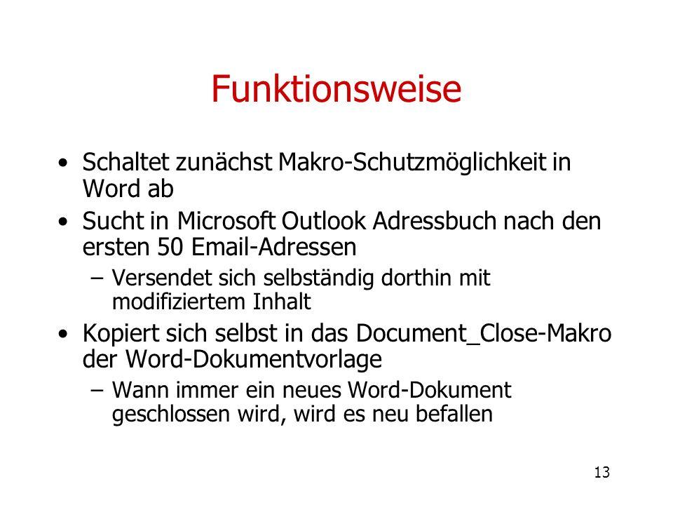 Funktionsweise Schaltet zunächst Makro-Schutzmöglichkeit in Word ab