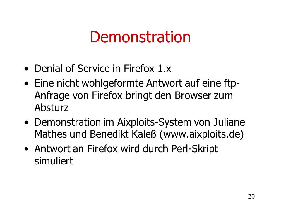 Demonstration Denial of Service in Firefox 1.x
