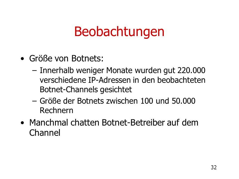 Beobachtungen Größe von Botnets: